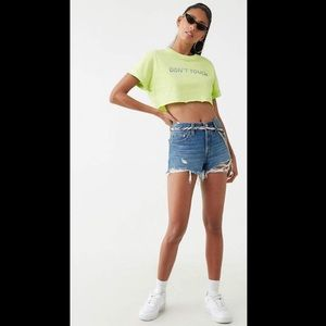 Forever 21 Don't touch green crop top